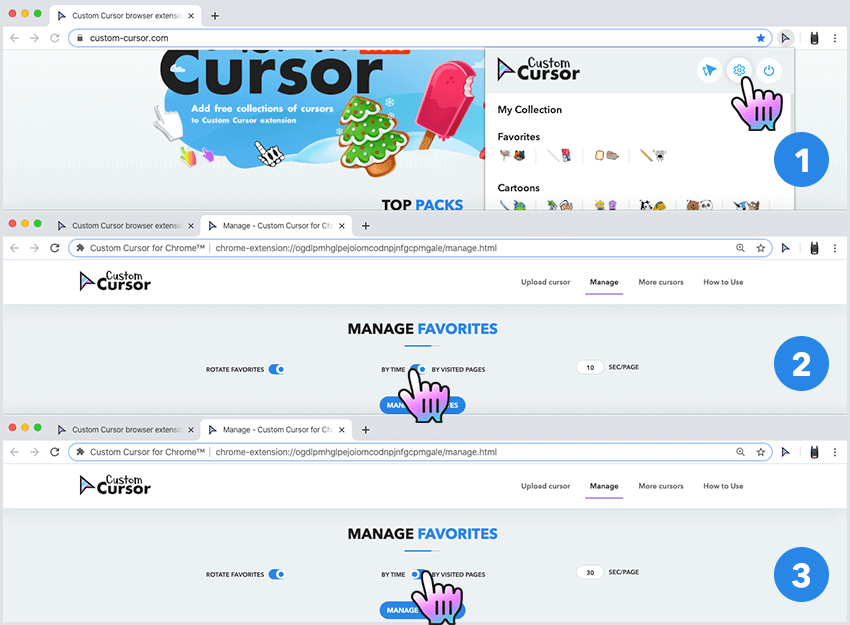 Setting up rotation of favorite cursors